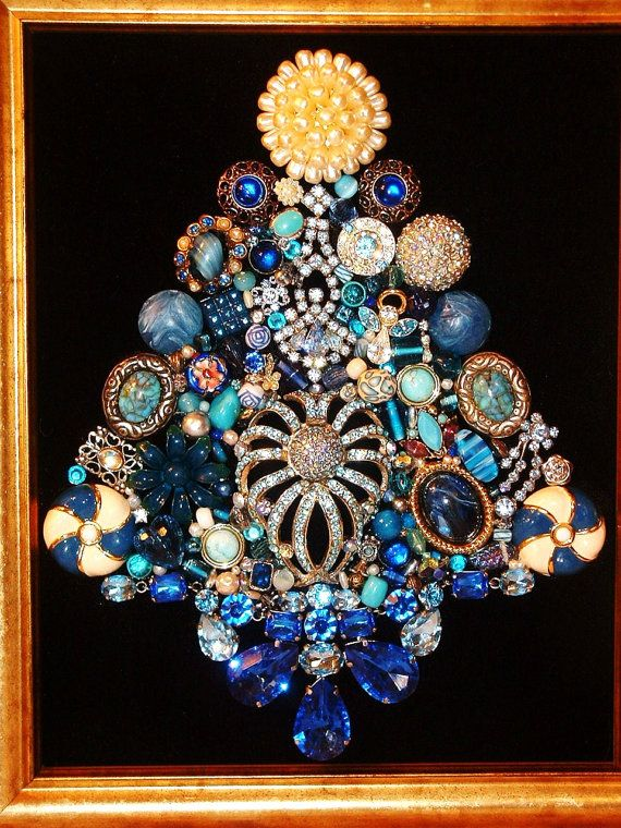 ~ I Love an Old-Fashioned Christmas!  ~HEAVENLY BLUES Handcrafted Jeweled Framed Christmas Tree was created with Vintage & Modern Jewelry, Rhinestones, Beads, & other unique & pretty jewels on a background of soft Black Velvet ~ Many different shades of Blue & lots of Sparkling Rhinestones make this Christmas Tree really sparkle & shine  ~ Frame is gold with easel & hanger on back & measures 12 1/2 x 10 1/2 ~ A lovely accent for your holiday home or a special gift for a loved one or friend…