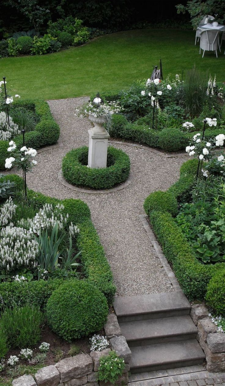 Beau Formal Garden With Boxwood Plants And Urn