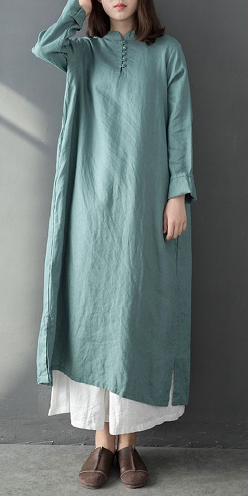 Blue And Purple Vintage Maxi Cotton Linen Dresses For Women Q7011