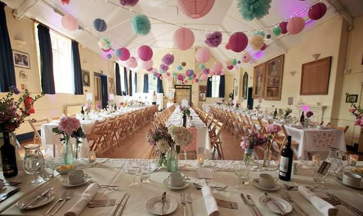village hall - use lots of pom poms and bunting to add charm
