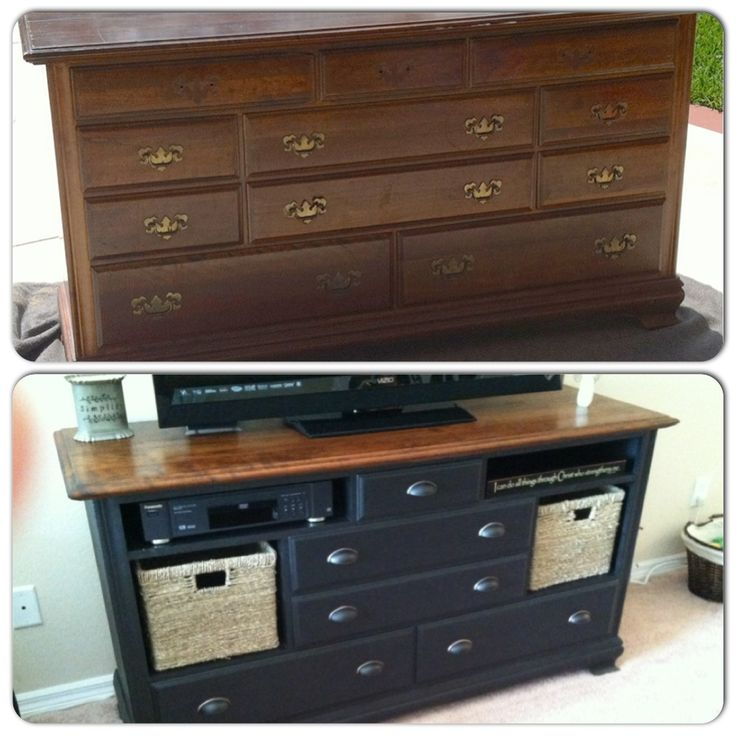 from old ugly dresser to beautiful center i love the combination of stained wood dresser tv standlong