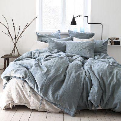 Sängkläder i linne Dusty Blue