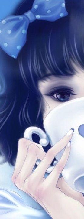 I really like this anime girl's eye makeup, hair bow, and nail art. I really really like this anime look.