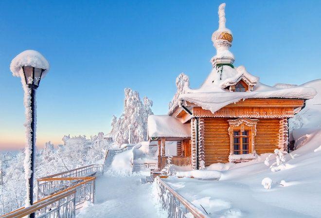 зима, природа, горы, отдых, снег, красиво, храм, церковь