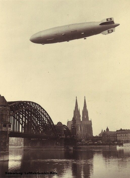 "LZ129 ""Hindenburg"" flying above Cologne, my hometown"