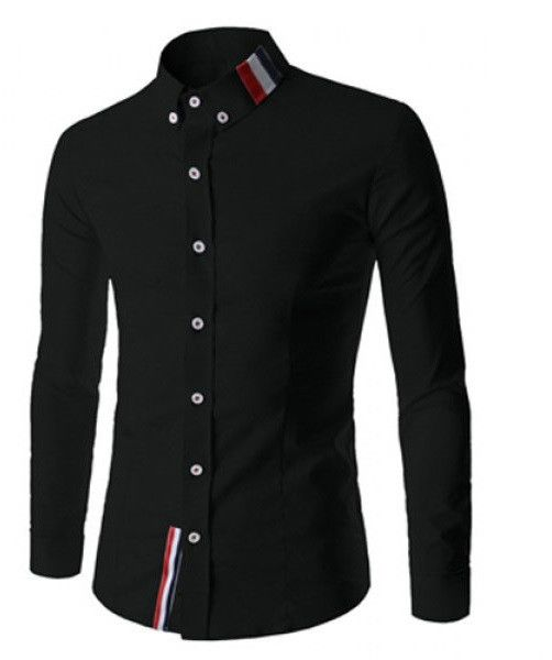 Stylish Shirt Collar Slimming Buttons Design Stripes Splicing Long Sleeve Polyester Shirt For Men Note: Please check size tab before ordering!  Shirts Type - Ca