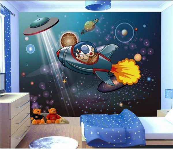 3d wallpaper photo wallpaper custom kids mural living room spaceship astronaut boy cartoon 3d painting wallpaper for walls 3 d
