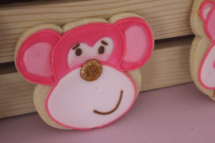 Pink and Gold Glam Safari Birthday Party Monkey Cookie