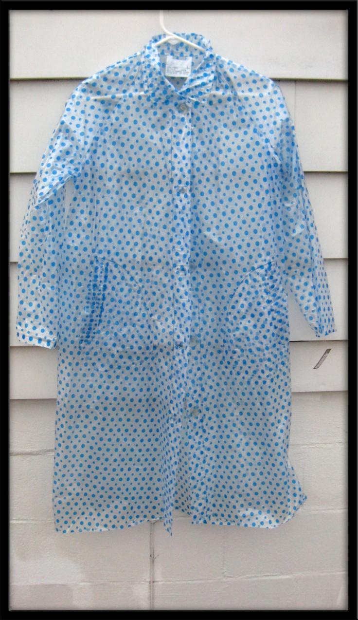 Vintage 1960s Mod Rain Mad Men Trench Coat Clear Vinyl