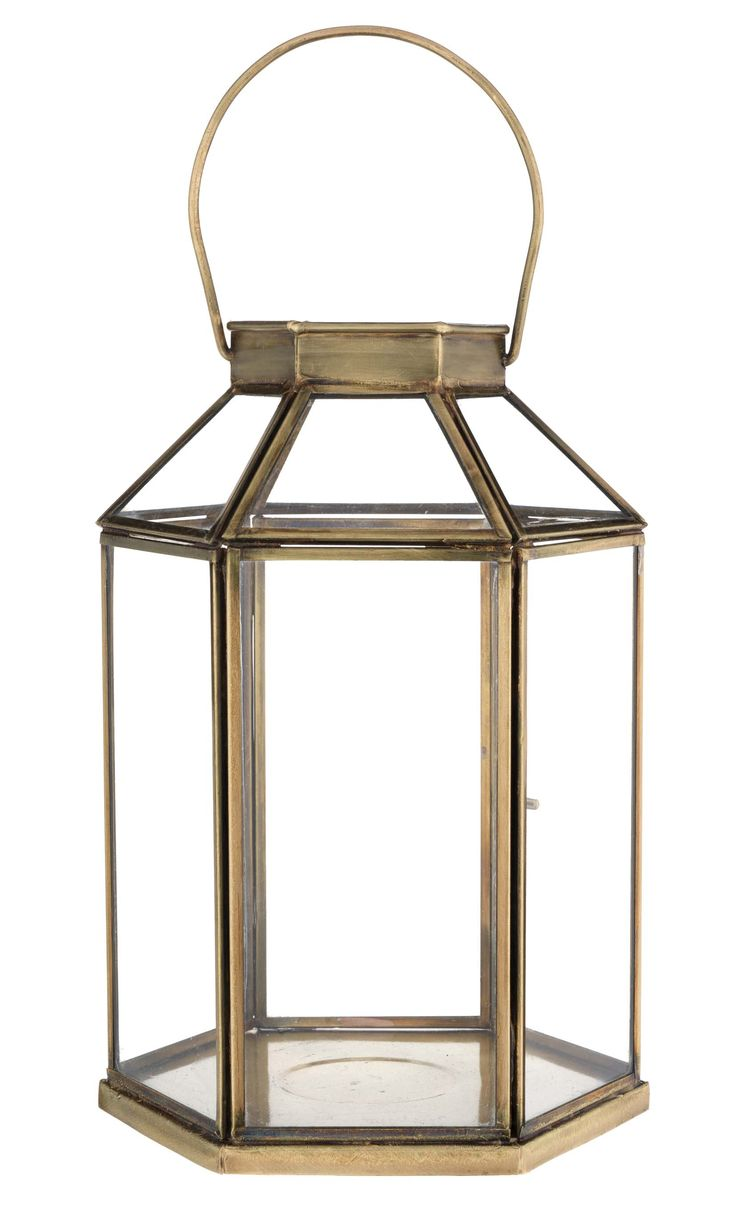 With its striking shape and rustic gold frame, we love this hexagonal lantern.  Priced at £20.