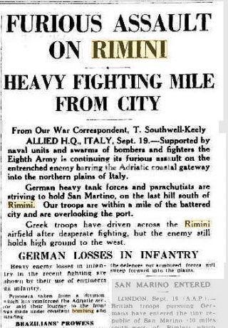 20 Sep 1944   FURIOUS ASSAULT ON RIMINI HEAVY FIGHTING MILE FROM CITY_rimini foto di guerra
