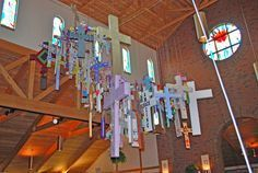 """LOVE this idea: """"During Lent, we asked that people who wanted to, take a blank cross home from church. We had different sizes we asked them to decorate them with the joys & sorrows they were carrying during Lent,"""" Father Nolan says. """"We based our request on the story of a man who was able to choose his cross. We handed out the story & asked people to work on them & bring them back."""" During Lent the various-sized crosses hung on two sides of the church. Then, in time for the Easter Vigil, ..."""