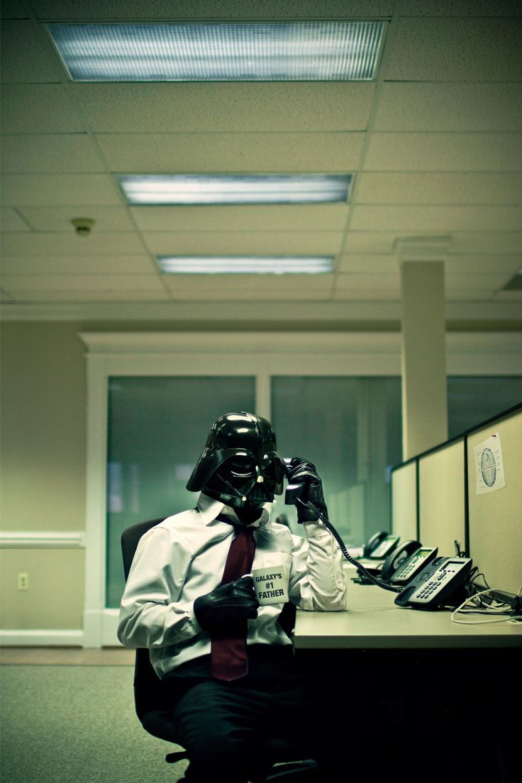 Darth at work...in cubeville. Thanks for the link @Kaitlyn Dennihy