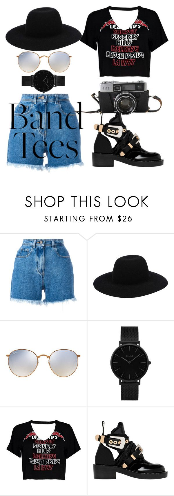 """band time"" by dongoodleo on Polyvore featuring Philosophy di Lorenzo Serafini, Off-White, Ray-Ban, CLUSE, Boohoo and Balenciaga"