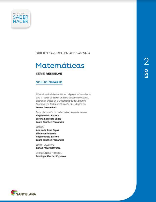Solucionario Matematicas 2 Eso Santillana En 2021 Matematicas 2 Eso Matematicas Cursillo
