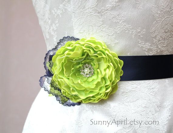 Lime Green Navy Blue Flower Wedding Ribbon Sash/  Handmade Accessory/ Free…