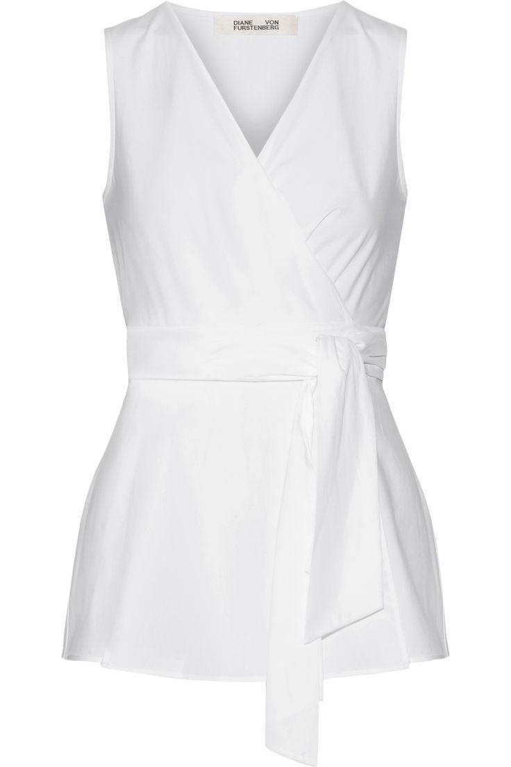 Diane von Furstenberg   Cotton-poplin wrap top   NET-A-PORTER.COM