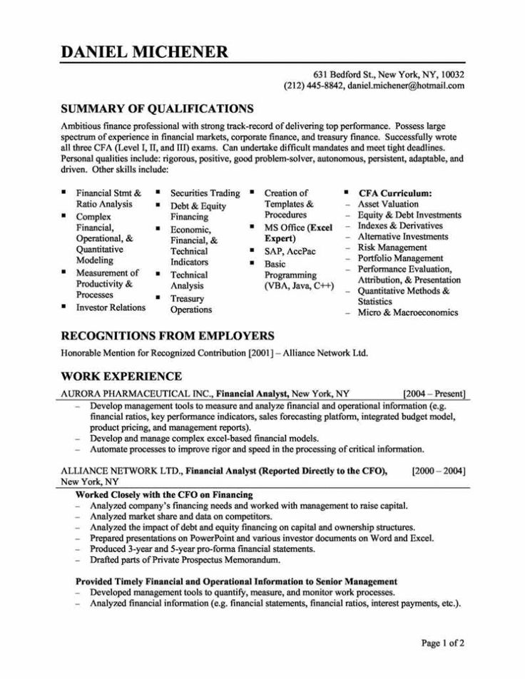 8 best Resume images on Pinterest Resume tips, Sample resume and - financial analyst resume objective