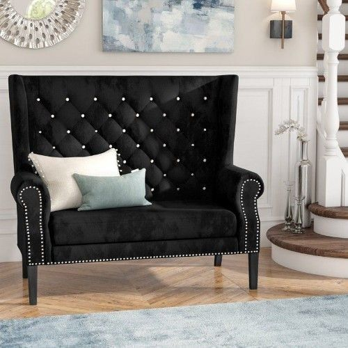 BEST PRICING  FREE SHIPPING  HIGH QUALITY  Black Velvet Loveseat Settee Sofa Tufted For Living Room Boutique Luxury Style  DETAILS  Elevate your living room with this wingback black velvet loveseat sofa that will instantly comliment your home d...
