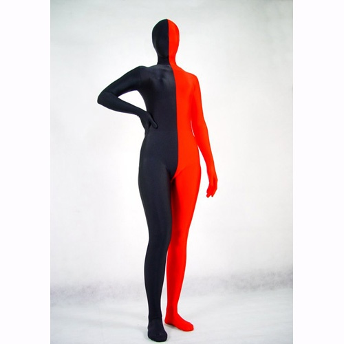 Half Red And Half Black Lycra Spandex Zentai Masquerade Fancy Dress  http://www.zentaifancydress.com/half-red-and-half-black-lycra-spandex-zentai-masquerade-fancy-dress-p-61.html