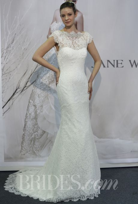 Brides.com: Jane Wang - Spring 2014. Lace mermaid wedding dress with sweetheart bodice and high illusion neckline with cap sleeves, Jane Wang