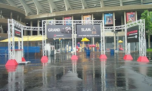 The new Grand Slam Aluminum Display Truss Entranceway by VersaTruss Plus