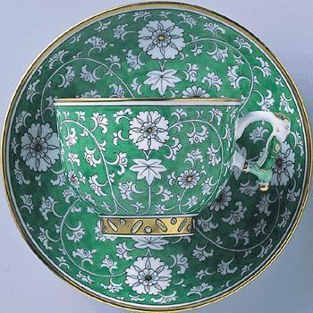 Helen [Herend] Shinwasuri Furong Green Cup Tea Cup & Saucers