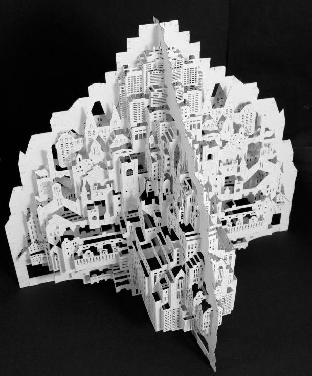 一枚の紙を切って折って生まれる、大都会3D建築芸術 | roomie(ルーミー)
