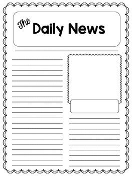 Newspaper article template language literacy pinterest for Free printable newspaper template for students