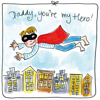 Super papa vliegt over de huizen- Greetz