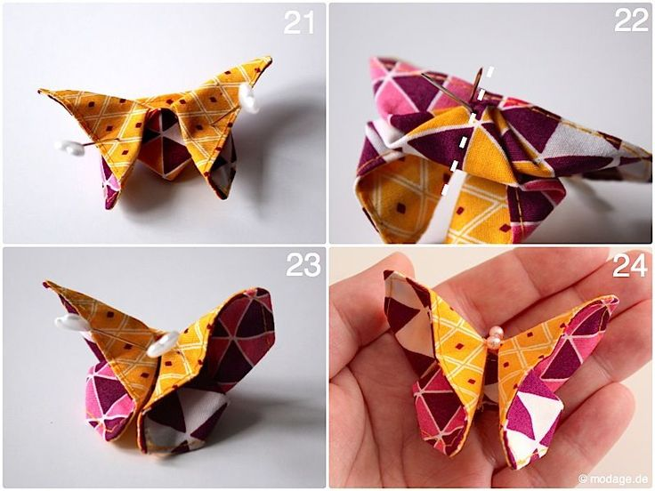 Origami Schmetterling aus Stoff Naehanleitung Stoffreste modage 10