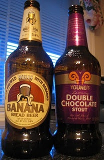 Young's Double Chocolate Stout + Wells Banana Bread beer = Dirty Banana beer. Yum!