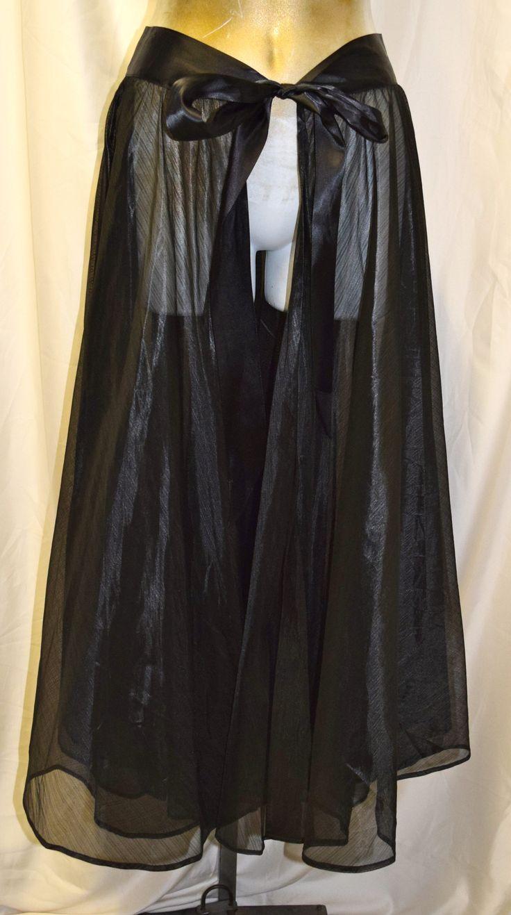 Vintage Black Sheer Formal Skirt with Open Front