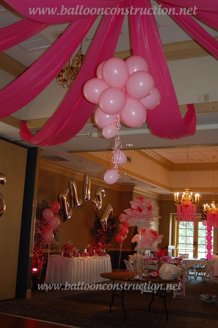 Fabric and balloon dance floor decor.  #balloons #fabric #sweet 16 #16th birthday