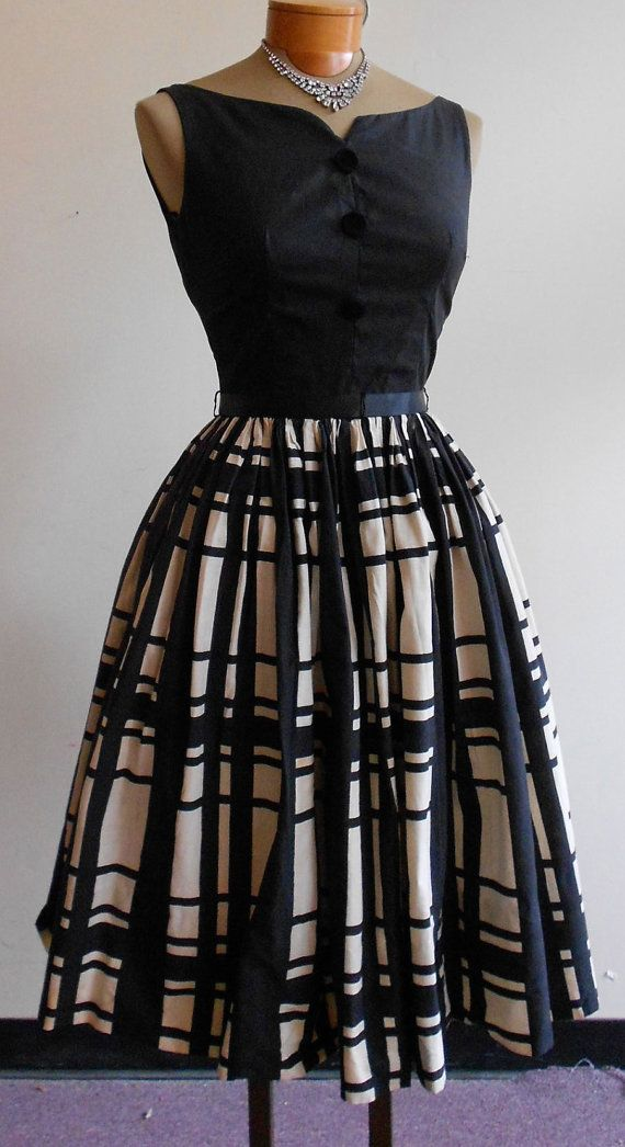 """1950's, 32"""" bust, sleeveless black top, and black and white plaid skirt, dress"""