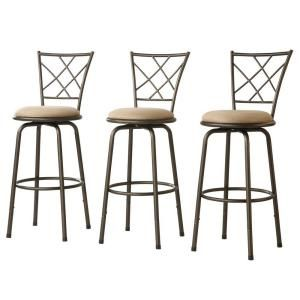 Home Decorators Collection Adjustable 24 in. H Quarter Cross-Back Bar Stools (Set of 3)-40855C971W(3A) at The Home Depot