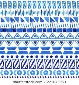 Watercolor ethnic seamless pattern. Aztec geometric background. Hand drawn blue ...