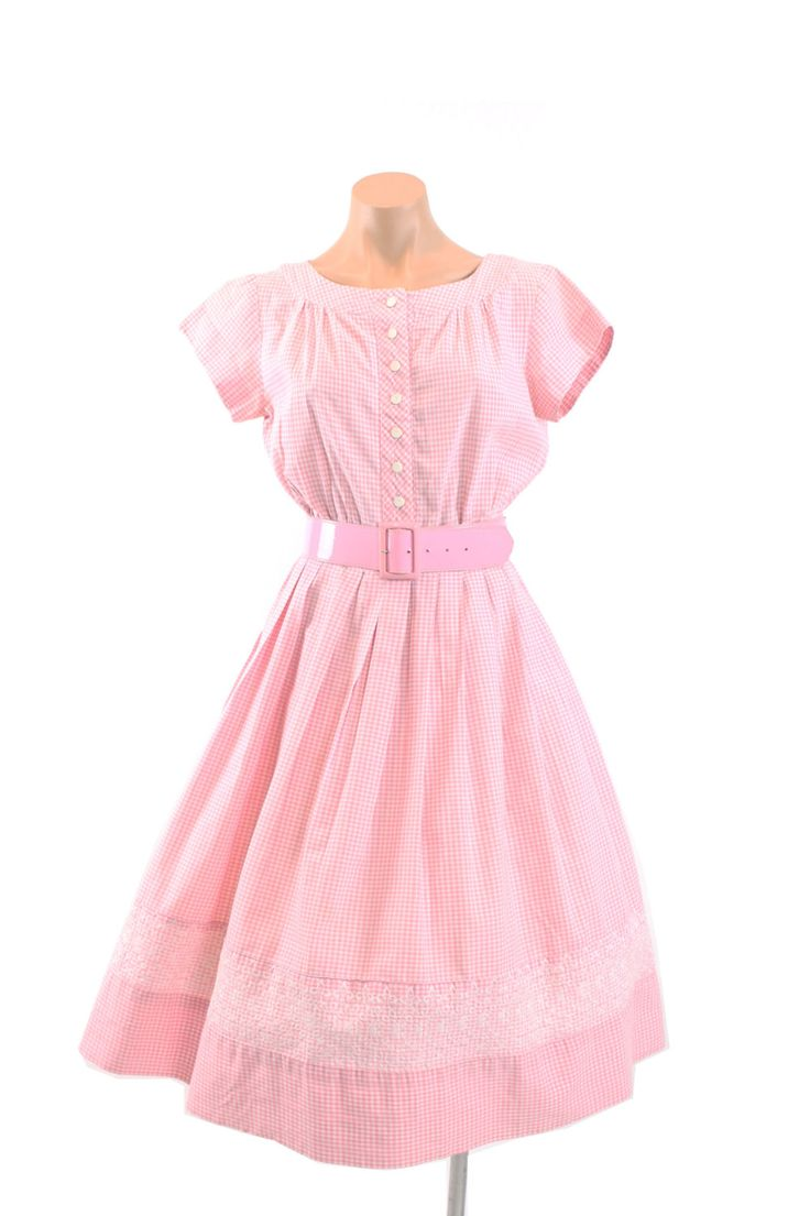 Vintage 50er Jahre Sommertag Kleid Rosa karierte aufgegebenes