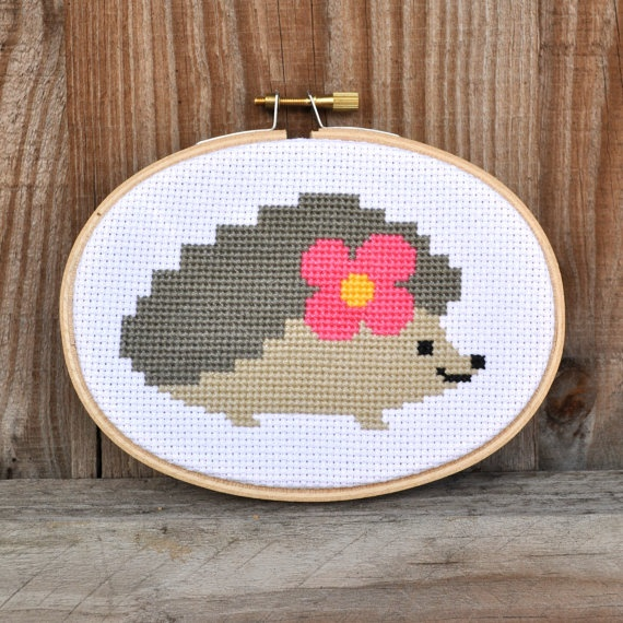 The most darling, ultra adorable hedgehog cross stitch!!! #cute #hedgehog #flower #cross_stitch #stitchery #crafts
