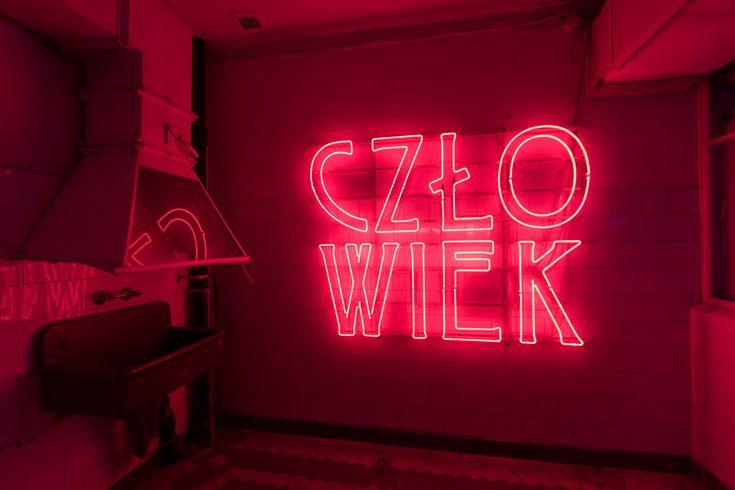 'człowiek' ('man' in Polish) Neon by artist Hubert Czerepok