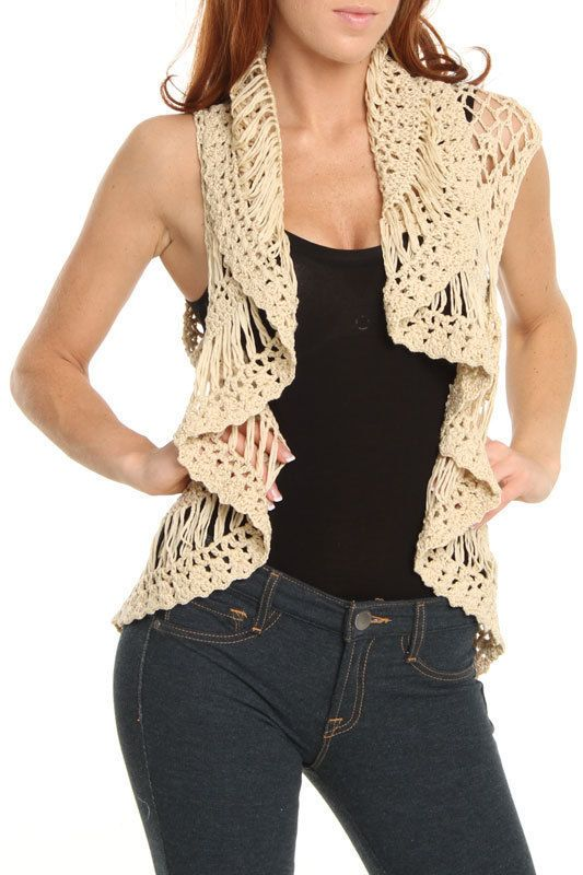 crochet circle vest pattern free | Crocheted Circle Vest in Khaki Online Shopping Event
