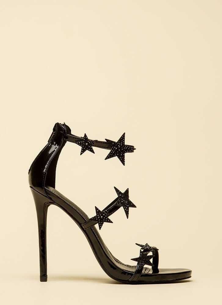 3e3194fded Star-Studded Jeweled Strappy Heels | clothing | Black strappy heels ...