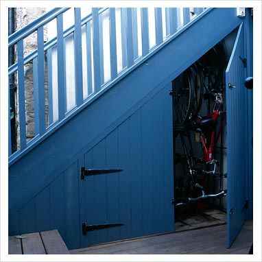 Idea for storage underneath stairs outside!