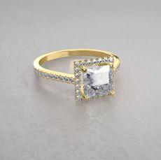 Modischer Halo Diamant Verlobungsring im Princess Schliff aus 14kt Gelbgold