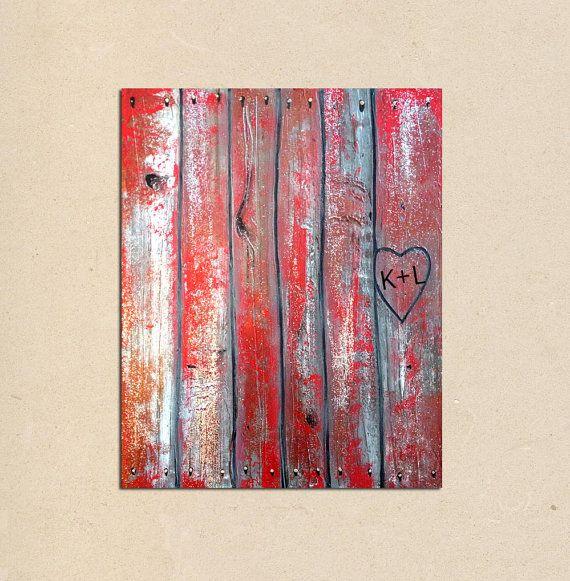 angepasste Herz--rustikal moderne faux Holz original Gemälde Kunst--personalisiert mit Ihrem Namen oder Initialen - Valentinstag Geschenk