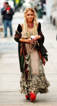 "this is Mary Kate Olsen rocking the ""boho chic"" style which brought back layering and peasant tops from the 70s"