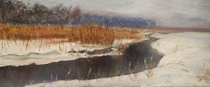 """painter Marko Sapiolko """"Narewka River Valley in winter"""" oil painting on canvas 50x100cm"""
