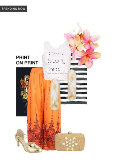 'Print on Print' by me on Limeroad featuring Printed White Tops, Gold Pumps with Beige Clutches