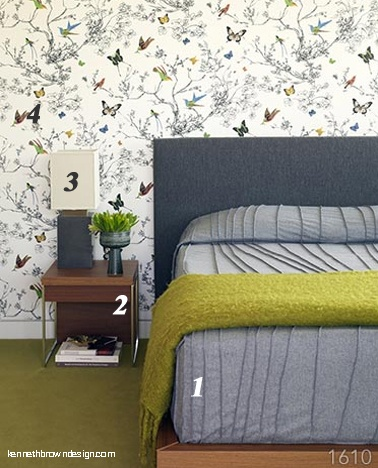 love the color and texture and maybe even the walpaper, if i'm feeling bold.: Beds Rooms, Guest Bedrooms, Butterflies Wallpapers, Brown Design, Design Rooms, Kenneth Brown, Contemporary Design, Colors Inspiration, Beautiful Bedrooms