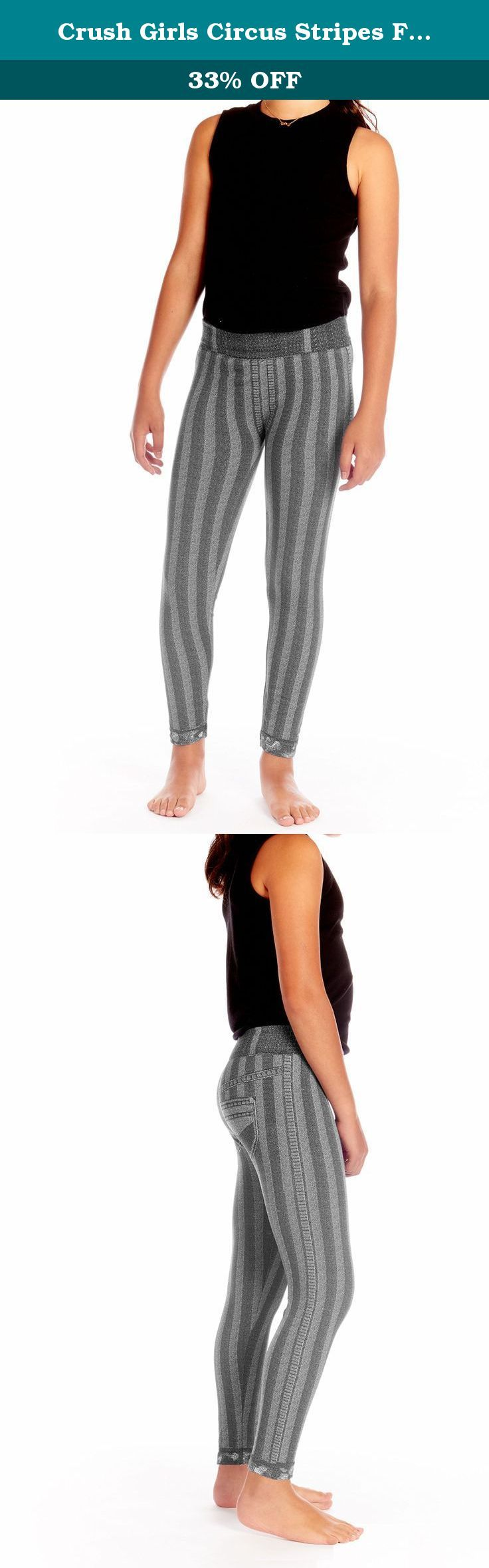 Crush Girls Circus Stripes Faded Denim Jeans Leggings Pants Size 7 - 16 Black. If your girls are active, sporty or just love leggings and yoga pants, and wear them all the time, then you will love Crush's high-waited leggings. Great for active days, lounging and casual wear. Easy pull-on and off fashion is perfect for school and play. Neutral colors go with everything for endless versatility.